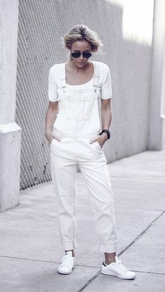 White overalls, t-shirt, and sneakers