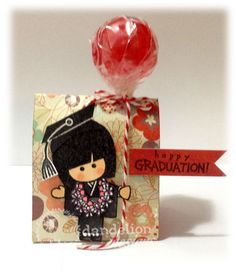 "Turn a lollipop into a balloon.quick and easy! Stamps used: Girl stamp is from ""Aloha"" Flower stamp is form ""Never F. Dandelion Designs, Candy Crafts, Christmas Crafts, Christmas Ornaments, Flower Stamp, Design Girl, Kokeshi Dolls, Graduation Cards, Balloons"