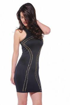 Cut Out Neck Stud Black Dress - AX Paris USA-Fashion Dresses, Black Dresses, Evening Dresses and Party Dresses