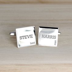 Best Man cufflinks in modern style personalise with first and second name. Silver plated Great thank you giftto thank him for all his hard work.