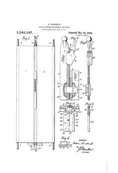 Zipper Patent - 1920 - Quick-opening separable fastener Patent US1340187.