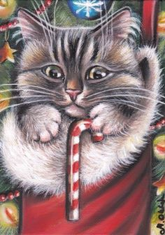 Gray Tabby Cat Kitten Portrait Christmas Tree Candy Cane 5x7 Art Painting MARTA  | eBay