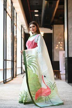 Latest Designer Sarees - New Arrivals - Beatitude Saree Painting Designs, Fabric Paint Designs, Hand Painted Sarees, Hand Painted Fabric, Organza Saree, Tussar Silk Saree, Cotton Saree, Sari Design, Stylish Sarees