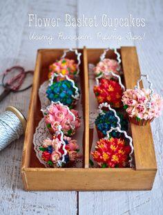 A Russian Tip Piping & Flower Basket Cupcake Tutorial