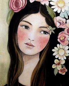 Claudia Tremblay - Spring in mind Art And Illustration, Fantasy Kunst, Fantasy Art, Claudia Tremblay, Arte Popular, Angel Art, Whimsical Art, Face Art, Painting Inspiration
