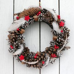 christmas wreath with feathers