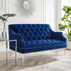 Blue Velvet Tufted Acrylic Leg Glam Loveseat Settee Chesterfield Style Sofa, Loveseat Sofa, Velvet Furniture, Blue Furniture, Low Back Sofa, Blue Velvet Sofa, Grey Lounge, Beautiful Sofas, Curved Sofa