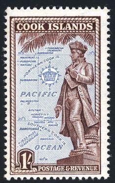 Capt. James Cook Islas Cook, Captain James Cook, Font Art, Postage Stamp Art, Cook Islands, Retro Art, Stamp Collecting, Art Drawings, Vintage World Maps
