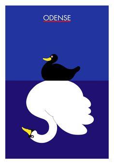 Danish travel poster: 'The Ugly Duckling' - Odense (Hometown of H.C. Andersen) - Danish artist Per Arnoldi