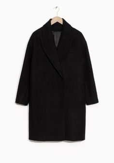 & Other Stories image 1 of Brushed Wool Blend Coat in Black