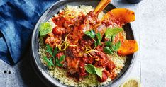 Moroccan-style lamb shanks with pumpkin recipe Healthy Slow Cooker, Slow Cooker Recipes, Cooking Recipes, Lamb Recipes, Seafood Recipes, Moroccan Lamb Shanks, Moroccan Style, Moroccan Decor, Kitchens