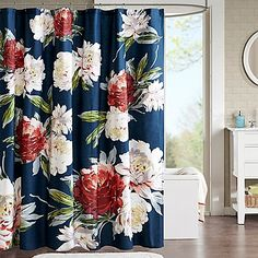 Give your bathroom a burst of color with this floral Camilla shower curtain. The navy ground is popped with energetic color in large scale bright colors. Printed on cotton this shower curtain will define and inspire in the bathroom. Fancy Shower Curtains, Colorful Shower Curtain, Bathroom Curtains, Flower Shower Curtain, Bathroom Flooring, Curtain Designs, Curtain Ideas, Small Bathroom, Bathroom Ideas