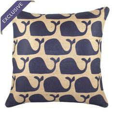 Burlap throw pillow with a whale motif. Product: PillowConstruction Material: Burlap coverColor: Navy and beigeFeatures: Insert includedHandmade by TheWatsonShopZipper enclosure Made in the USA Dimensions: 16 x and Care: Spot clean only Burlap Throw Pillows, Accent Pillows, Decorative Pillows, Whale Pillow, Whale Pattern, Beach Boutique, Joss And Main, Home Projects, Burlap Projects