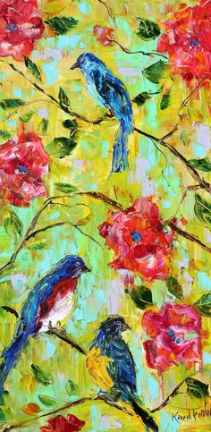 Original painting oil Spring Birds and Flowers by Karensfineart