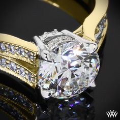 """""""Divisi"""" Diamond Engagement Ring is set with 38 brilliant A CUT ABOVE® Hearts and Arrows Diamond Melee The split shank leads up to a delicate 4 prong head."""