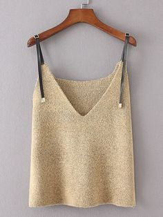 SheIn offers Contrast PU Strap Knit Cami Top & more to fit your fashionable needs. Crop Top Outfits, Warm Outfits, Cami Tops, Beige Outfit, Summer Knitting, Evening Outfits, Knit Fashion, Crochet Clothes, Crochet Top