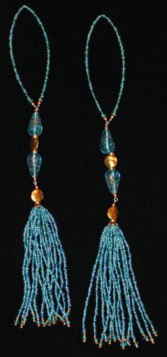 BEADED TASSELS  Translucent Turquoise Teardrop by GMBDesignsCustom, $29.00