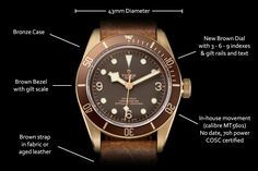 Tudor Heritage Black Bay Bronze with larger case and manufacture movement for Baselworld 2016 - Specs & Price - Monochrome Watches Tudor Black Bay Bronze, Tudor Bronze, Latest Watches, Watches For Men, Tudor Submariner, Tudor Heritage Black Bay, Monochrome Watches, Rolex Tudor, Unique Clocks