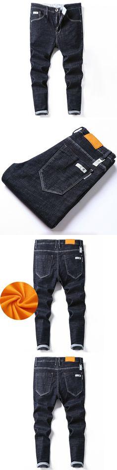 Hot Men's Biker Jeans Autumn Winter Stretch Casual Denim Pants Slim Scratched Long Trousers Gentleman Cowboys Fear Of God Jean