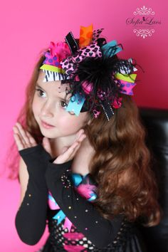 Cheetah Rock Explosion Bling Over the Top Hair Bow by sanchezc30, $19.99