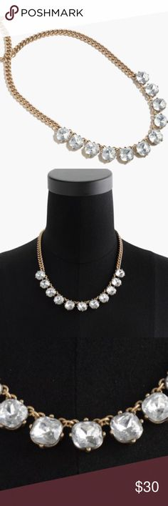 """J.Crew Crystal Necklace Sparkly crystal necklace. Brass, epoxy stone. Light gold ox plating. Length: 18"""" with a 2 1/4"""" extender chain for adjustable length. J. Crew Jewelry Necklaces"""