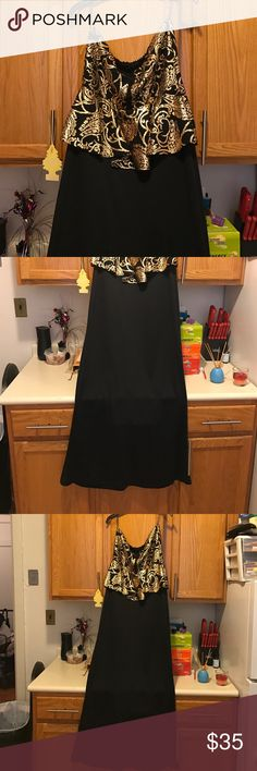 Full length sleeveless black and gold dress Absolutely beautiful Dresses Strapless
