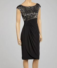 Another great find on #zulily! Black & Gold Damask Ruched Cap-Sleeve Dress by Connected Apparel #zulilyfinds