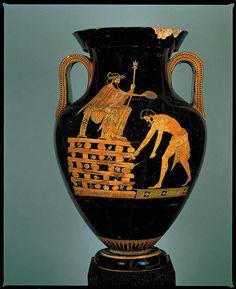 Attic Red-Figure Amphora, Croesus king of Lidia on his pire - Louvre Ancient Greek Art, Ancient Greece, Ancient History, Minoan Art, Alexandre Le Grand, Art Occidental, Louvre Paris, Mycenaean, Greek Pottery