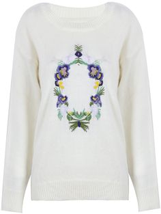 White Round Neck Long Sleeve Embroidered Sweater US$34.10