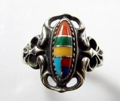 Sterling Silver Stone Inlay Southwestern Style Ring - ooooouh the colors