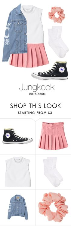 """""""BTS NOW 3 Inspired: Jungkook"""" by btsoutfits ❤ liked on Polyvore featuring Converse, Monki, Hue and Miss Selfridge"""