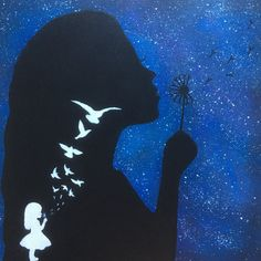 Silhouette Girl Blowing Dandelions Painting Galaxy Handmade Acrylic on Canvas