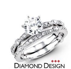 Reminisce Collection.  This gorgeous 18K white engagement ring and band is comprised of .59ctw round white Diamonds.