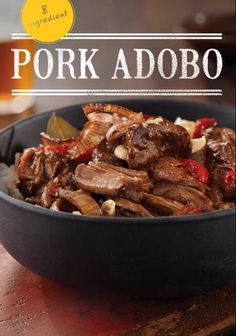 This slow-cooked pork recipe gets its adobo flavor from coconut vinegar, soy sauce and garlic. With less than 10 ingredients, it's easy to make – great for a weeknight dinner. Pork Recipes, Asian Recipes, Mexican Food Recipes, Crockpot Recipes, Cooking Recipes, Recipies, Pork Meals, Cooking Tips, Empanadas