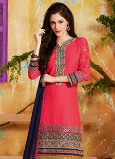 Beautiful New Pink And Black Embroidered Designer Suit