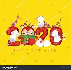 2020 新年快乐/ Happy Chinese New Year 2020 Year Stock Vector (Royalty Free) 1570667839 Chinese New Year 2020, Happy Chinese New Year, Happy New Year, Chinese Culture, Chinese Art, Chinese Festival, Cute Rats, Year Of The Rat, China