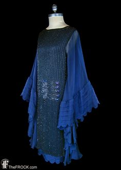 RESERVED - 1920s flapper dress, midnight blue silk, glass beaded dragonfly…