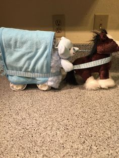 Boy Baby Shower Gift Horse and Buggy Diaper Cake #TreasureFox