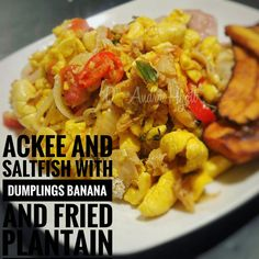 Ackee and saltfish # caribbean Jamaica Food, Dumplings, Caribbean, Good Food, Food And Drink, Banana, Fish, Vegan, Chicken