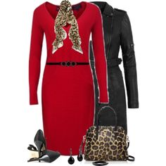 Leopard and Red, created by daiscat on Polyvore