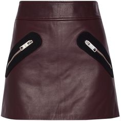 Versus Versace Twill-trimmed leather mini skirt (18.268.735 VND) ❤ liked on Polyvore featuring skirts, mini skirts, burgundy, leather mini skirt, zipper skirt, zip skirt, burgundy skirt and purple skirt
