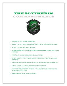 Slytherin Commandments