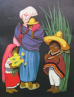 This charming painting of a Mexican mother and her three children comes from the book on How to Draw Mexican Folk Art Mexican Artwork, Mexican Folk Art, Disney Canvas Paintings, Canvas Art, Art Chicano, Chicano Tattoos, Latino Art, Writing Art, Hand Writing