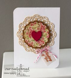 Our Daily Bread Designs, Ornate Border Sentiments, Doily, Fancy Foliage, Recipe & Tag, Ornate Hearts Dies, Blushing Rose Paper Collection, designed by Diana Nguyen