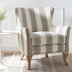 Dorel Living Reva Accent Chair is part of Patterned chair The simple silhouette of the striped Dorel Living Reva Accent Chair is a comfortable and classiclooking addition to any room The herringbon - Mirrored Bedroom Furniture, Living Room Furniture, Plaid Chair, Patterned Chair, Most Comfortable Office Chair, Farmhouse Dining Chairs, Cool Chairs, Arm Chairs, Lounge Chairs