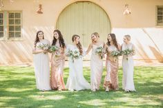 Beautiful ladies in sequin & chiffon mix n' match bridesmaid gowns!