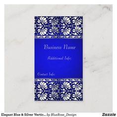 Elegant Blue & Silver Vertical Business Card Holiday Cards, Christmas Cards, Vertical Business Cards, Business Names, Christmas Card Holders, Hand Sanitizer, Business Card Design, Blue And Silver, Keep It Cleaner