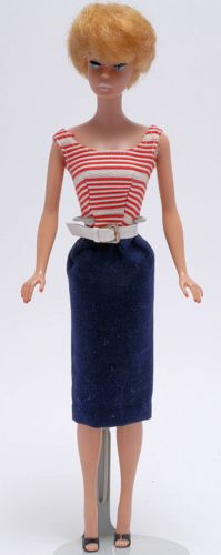 Vintage Barbie Doll wearing Cruise Stripes #918 (1959-1962). That hair! In those days argan oil was not common I guess.