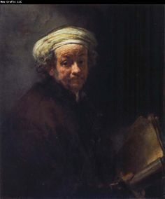 This portrait by Rembrandt is an example of chiaroscuro lighting. The figure emerges out of the darkness to give it a more three dimensional look.