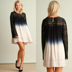 BACK IN STOCK Umgee USA Boho 70's FLOWY Ombre Cream Black Crochet Lace Bell Sleeve Dress S-L #UmgeeUSA #Shift #Casual